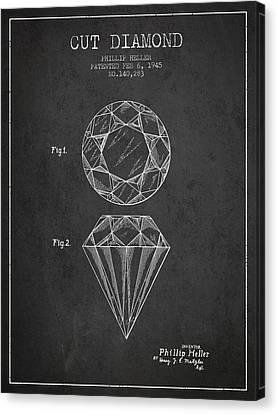 Cut Diamond Patent From 1873 - Charcoal Canvas Print by Aged Pixel