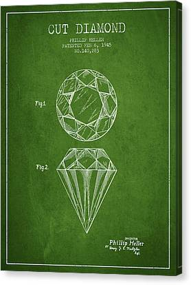 Cut Diamond Patent From 1873 - Green Canvas Print by Aged Pixel