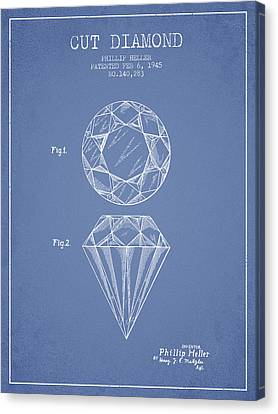 Cut Diamond Patent From 1873 - Light Blue Canvas Print by Aged Pixel