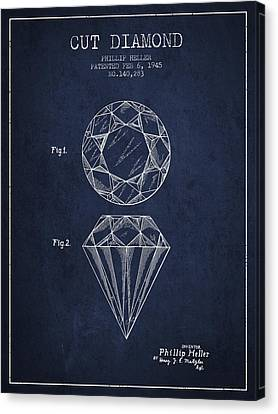 Cut Diamond Patent From 1873 - Navy Blue Canvas Print by Aged Pixel