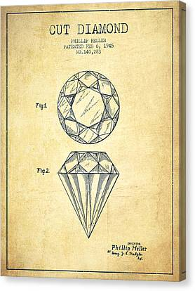 Cut Diamond Patent From 1873 - Vintage Canvas Print by Aged Pixel