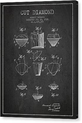 Cut Diamond Patent From 1935 - Charcoal Canvas Print by Aged Pixel