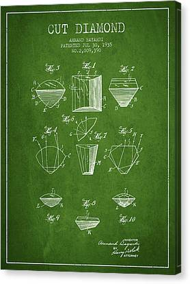 Cut Diamond Patent From 1935 - Green Canvas Print by Aged Pixel