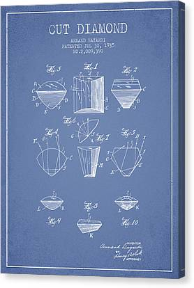 Cut Diamond Patent From 1935 - Light Blue Canvas Print by Aged Pixel