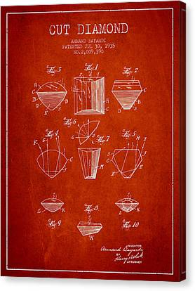 Cut Diamond Patent From 1935 - Red Canvas Print by Aged Pixel