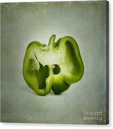Cut Green Bell Pepper Canvas Print by Bernard Jaubert