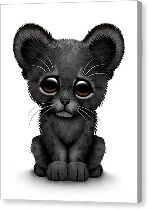 Cute Baby Black Panther Cub Canvas Print by Jeff Bartels