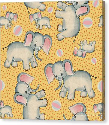 Cute Baby Elephant Pattern Vintage Illustration For Children Canvas Print by Tina Lavoie