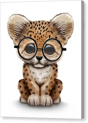 Cute Baby Leopard Cub Wearing Glasses Canvas Print by Jeff Bartels