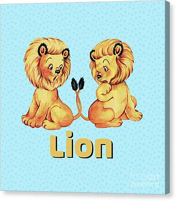 Cute Baby Lion Pajama Pattern Adorable Baby Animals Canvas Print by Tina Lavoie