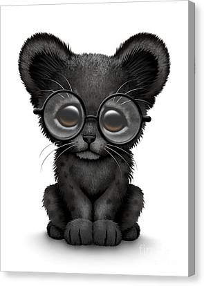 Cute Black Panther Cub Wearing Glasses Canvas Print by Jeff Bartels