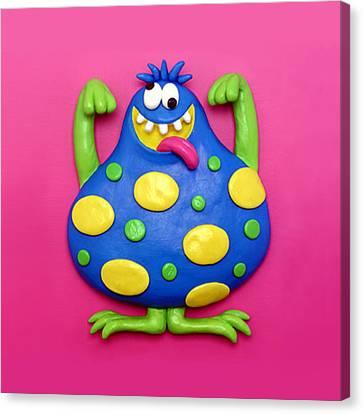 Cute Blue Monster Canvas Print by Amy Vangsgard