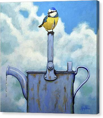 Cute Blue-tit Realistic Bird Portrait On Antique Watering Can Canvas Print by Linda Apple