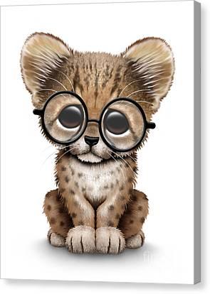 Cute Cheetah Cub Wearing Glasses Canvas Print by Jeff Bartels