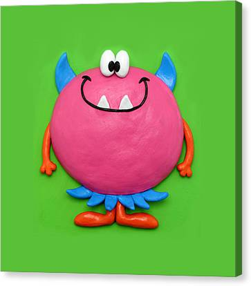 Cute Pink Monster Canvas Print by Amy Vangsgard