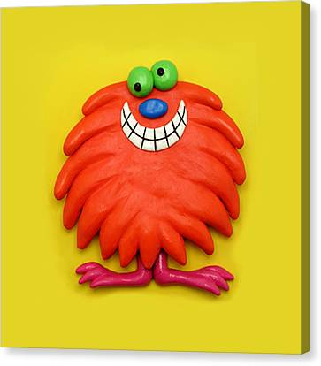 Cute Red Monster Canvas Print by Amy Vangsgard