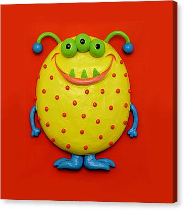 Cute Yellow Monster Canvas Print by Amy Vangsgard
