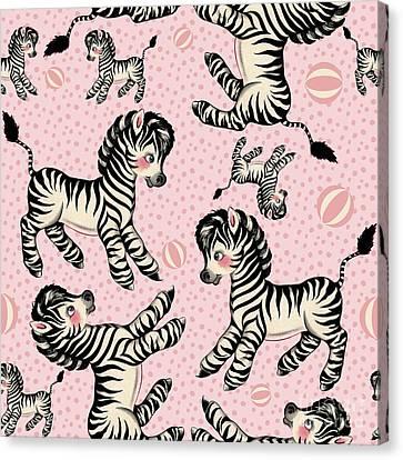 Cute Baby Zebra Pattern Vintage Book Illustration Pattern Canvas Print by Tina Lavoie