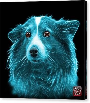 Cyan Shetland Sheepdog Dog Art 9973 - Bb Canvas Print by James Ahn