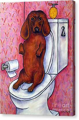 Dachshund In The Bathroom Canvas Print by Jay  Schmetz