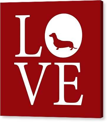 Dachshund Love Red Canvas Print by Nancy Ingersoll