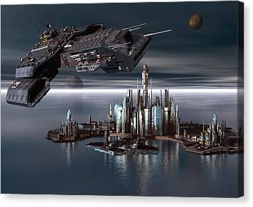 Daedalus Leaving Atlantis Canvas Print by Joseph Soiza