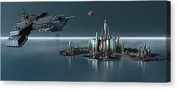 Daedalus Leaving Atlantis Propworx Catalog Version Canvas Print by Joseph Soiza