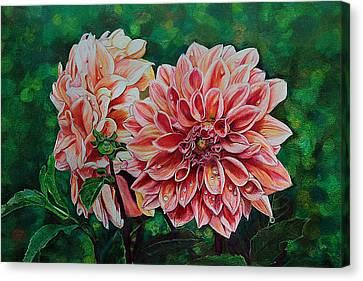 Dahlia's Beauty Drawing Canvas Print by Janet Pancho Gupta