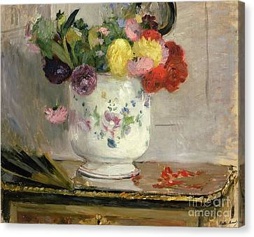 Dahlias Canvas Print by Berthe Morisot