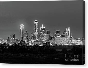 Dallas After Dark Black And White Canvas Print by Tod and Cynthia Grubbs