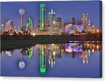 Dallas Blue Hour Canvas Print by Frozen in Time Fine Art Photography