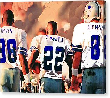 Dallas Cowboys Triplets Canvas Print by Paul Van Scott