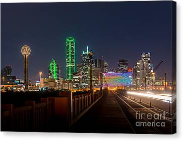 Dallas Downtown Night Canvas Print by Tod and Cynthia Grubbs