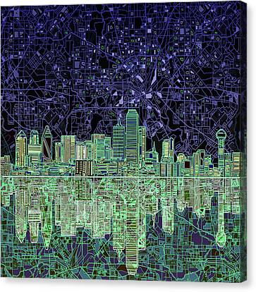 Dallas Skyline Abstract 4 Canvas Print by Bekim Art