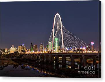 Dallas Skyline At Dark Canvas Print by Tod and Cynthia Grubbs