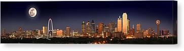 Dallas Skyline At Dusk Big Moon Night  Canvas Print by Jon Holiday