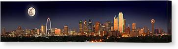 Dallas Skyline At Dusk Big Moon Night  Canvas Print by Jon Holiday