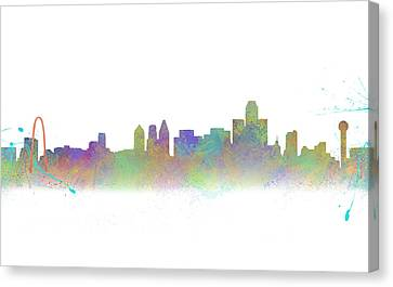 Dallas Skyline In Rainbow Colors Canvas Print by Tod and Cynthia Grubbs