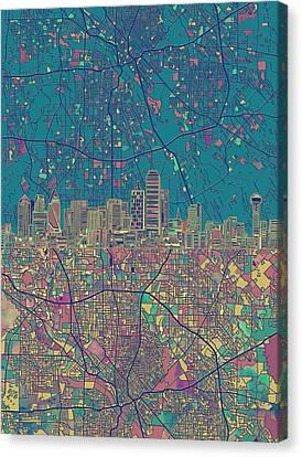 Dallas Skyline Map Green Canvas Print by Bekim Art