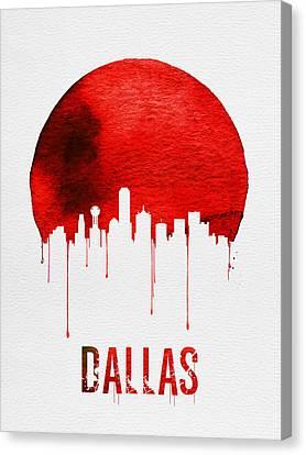 Dallas Skyline Red Canvas Print by Naxart Studio