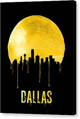 Dallas Skyline Yellow Canvas Print by Naxart Studio