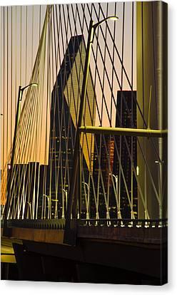 Dallas Through Bridge Canvas Print by David Clanton