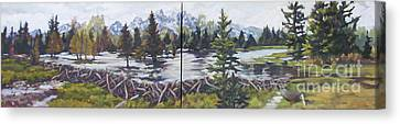 Dam Tetons Canvas Print by Patricia A Griffin