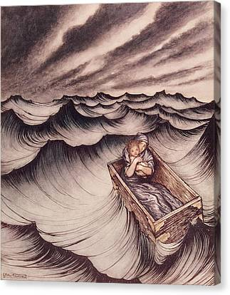 Danae And Her Son Perseus Put In A Chest And Cast Into The Sea Canvas Print by Arthur Rackham