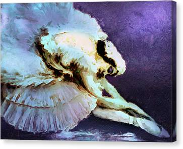 Dance Of The Dying Swan Ballerina Abstract Realism  Canvas Print by Georgiana Romanovna