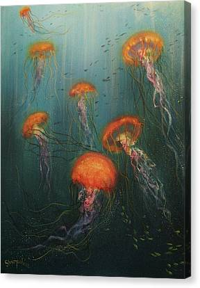 Dance Of The Jellyfish Canvas Print by Tom Shropshire