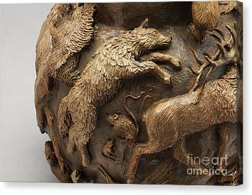 Dance Of The Seasons - Bronze Wildlife Bowl Detail - Wolf And Jumping Mice Canvas Print by Dawn Senior-Trask