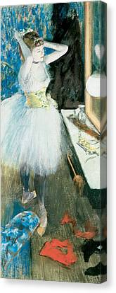 Dancer In Her Dressing Room  1879 Canvas Print by Edgar Degas