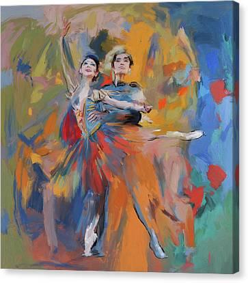 Dancers 278 1 Canvas Print by Mawra Tahreem