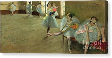 Dancers In The Classroom Canvas Print by Edgar Degas